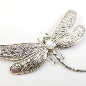 Sterling Dragonfly Pin w/Pearl & Peridot Eyes